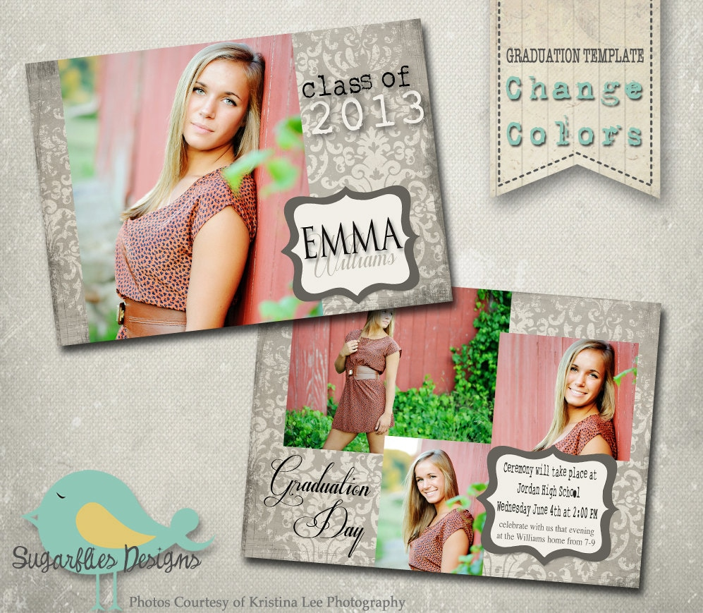 graduation announcement photoshop template senior graduation. Black Bedroom Furniture Sets. Home Design Ideas