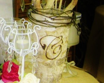 "10 Custom Monogrammed Birch Bark Covered 9"" Vase, Set of 10 Custom Wood Burning, Wedding table numbers alternative"