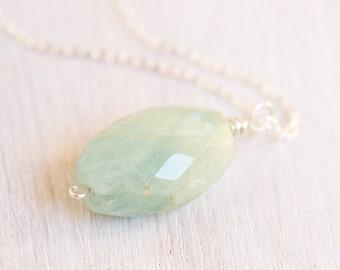 Aquamarine Necklace, 30 carats, raw aquamarine, sterling silver, raw gemstone necklace, fine jewelry, March birthstone - LIMITED RUN