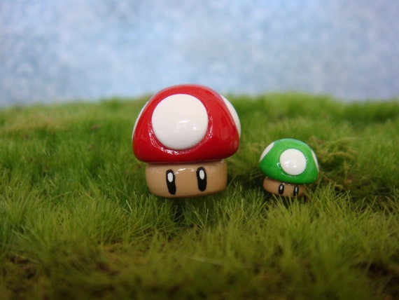 Mario inspired tiny clay mushrooms (2), red and green, for terrarium or house plant