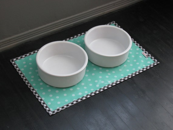 Turquoise Dot Waterproof Pet Placemat with Black Gingham Border