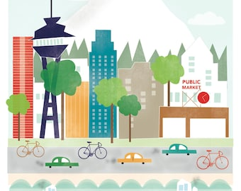Seattle art print illustration - 11x14 - mountain city buildings washington space needle
