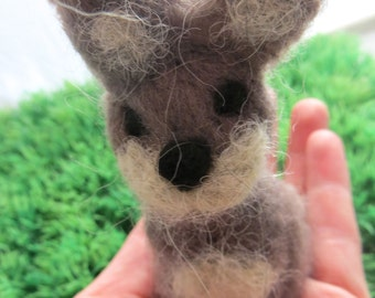 Fuzzy Bunny Miniature Soft Alpaca Wool NeedleFelt Animal