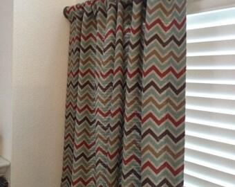Curtain Drapery Panel in Zoom Zoom Nile Denton Chevron Home Decor Fabric