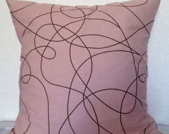 Set of 2 Pillow Covers 18x18 inch-Free Shipping - Pink and Brown Squiggle