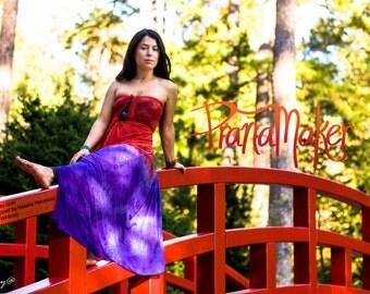 One-of-a-Kind Custom PranaMaker Scarf Wrap Dress. Red Bridge. Hand Painted by Natalia Hacerola.