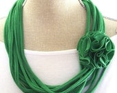 St. Patrick's Day Scarf- Green T-Shirt Necklace with Removable Flower Clip - Irish Green Jersey Tshirt Necklace / Infinity Scarf- Upcycled