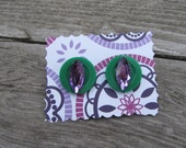 Purple and Green Envy Retro Style Earrings