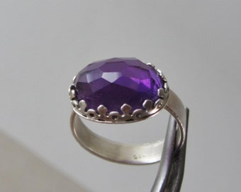 Sterling Silver Brazilian Amethyst Ring -  High-grade Deep Purple Amethyst ring - Cushion cut Ring - Ready to Ship Size 9
