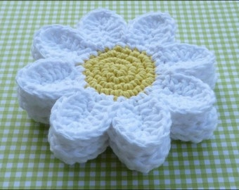 Crochet Flower Coaster Set Of 4, Flower Coaster, Daisy Coasters, Cup Coasters
