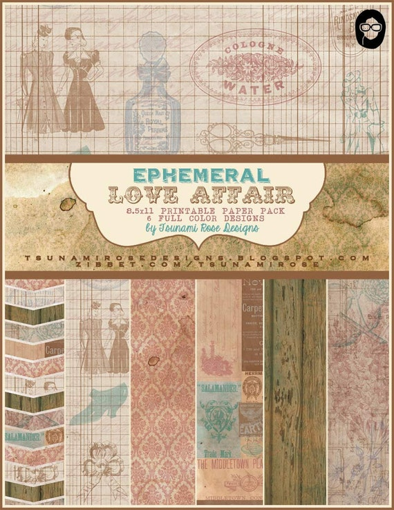 "8.5x11 Vintage Digital Printable Scrapbook Paper- ""Ephemeral Love Affair"" Paper Pack"" INSTANT DOWNLOAD"