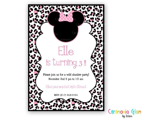 Invitación imprimible MINNIE MOUSE leopardo rosa por ceremoniaGlam