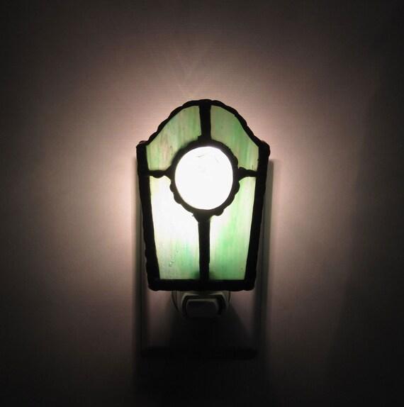 Unique Stained Glass Night Light Greenswirl W Purple