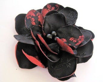 Black and Red Print Satin Flower Hair clip with Black Glass Pearl Accent