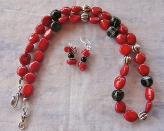 23 Inch Red Coral Nugget and Black Glass Necklace and Earrings