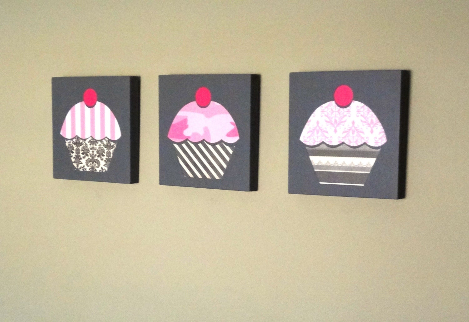 NEW LOWER PRICING Set of Three Cupcake Themed Wall Art.