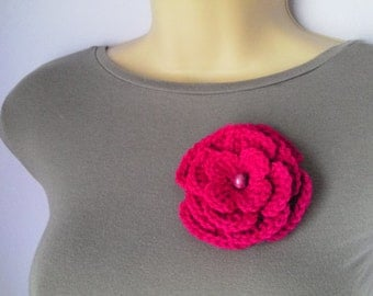Crochet Flower Brooch, Accessories