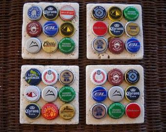 Beer Bottle Cap Coasters Tumbled Stone Set of 4