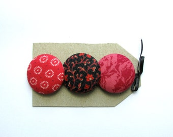 OOAK big buttons.  3 1 1/2 in fabric covered buttons in quilting cotton, red floral and geometric