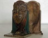 Antique Art Nouveau Deco Wise Owl Bookends Cast Iron Bronze Painted Bradley Hubbard Heavy Goth Gothic