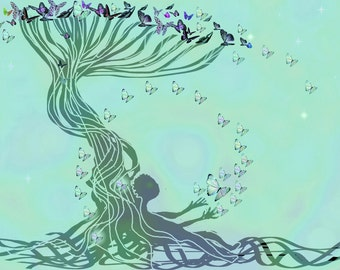 """Giclee print - high resolution - about 17.5 x 11.5""""- the butterflies tree"""