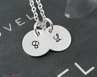 Personalized necklace, Tiny disc charms, Two letter necklace. Sterling silver mothers necklace