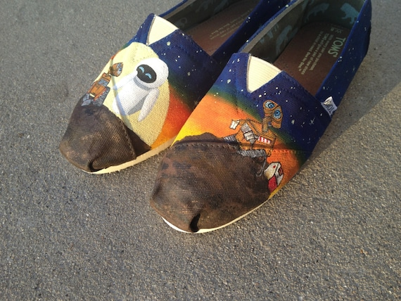 Custom Hand Painted Shoes - Wall-E and Eve