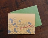 Letterpress Graduation Day Honeycomb Notecard