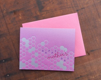 Letterpress Mothers Day Honeycomb Notecard