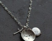 Custom Personalized Hand Stamped Sterling Faith As A Mustard Seed Cross Charm Necklace First Communion