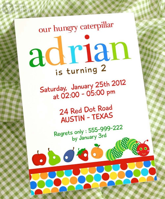 DIY PRINTABLE Invitation Card - The Caterpillar - PS820CA1a1
