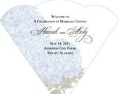SET OF 50 Hydrangea Wedding Fans custom colors available
