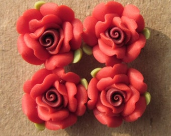 10 pcs 14 mm Polymer Clay Flower ,rose,Beads, FIMO, Pendant Charm craft jewelry Necklaces Earrings Bracelet Accessories - k18