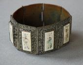Antique Art Deco Chinese Export Bracelet Silver Filigree over Copper Wide Panel Storyteller Bone Scrimshaw 1930's // Antique Fine Jewelry