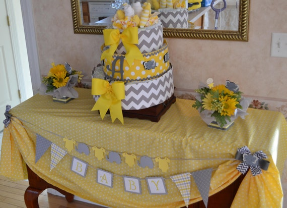 items similar to baby shower decorations yellow and grey elephants on