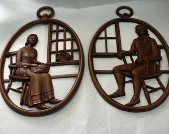 Vintage, Colonial Couple, Syroco Wall Plaques, Set of Two, Made in USA, Wall Hanging
