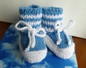 Baby Shower Booties Sky Blue White Knitted Soft Handmade Boy 3-6 Months Ready to Ship
