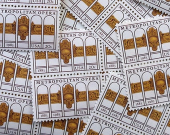 50 pieces - 1983 20 cent Metropolitan Opera Vintage unused stamps - great for wedding invitations, moving announcements, crafts, etc