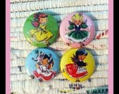 Set of 4 Vintage Rollerblading Little Girls 1 Inch Buttons (OR MAGNETS)