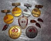 """11 vintage soviet medicine pin badge pinback icon """"Red cross, blood donor"""" - 100 % original made in USSR"""