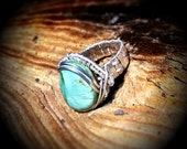 RESERVED for Jaime---Turquoise & Silver wire wrapped ring