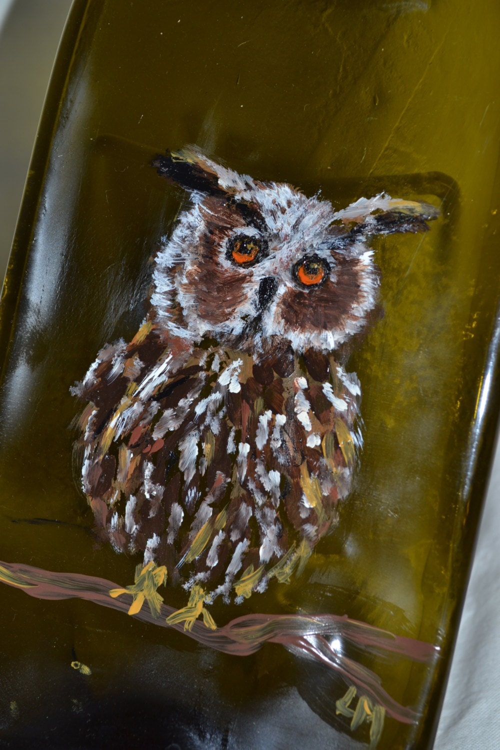 Owl Handpainted Brown Glass Wine Bottle Cheese Tray/Platter