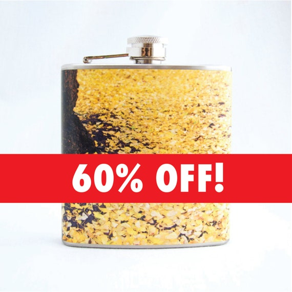 Autumn Leaves Flask - Yellow Ginkgo - 6 oz Stainless Steel Hip Flask - Velour Bag Included