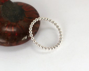 Single Beaded Stacking Ring, Sterling Silver, Made to Order