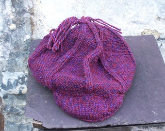 HAND KNITTED  Baker Boy Hat and Scarf Set  (Ready to Ship)