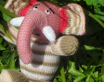 HAND KNITTED Elephant Toy - Percy the Party Elephant-(Amanda Berry) .Stuffed Toy (Ready to Ship)