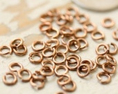 """20g Solid Copper Jump Rings 50 pc 4mm OD 2.25mm ID Saw Cut Open, 3/32"""" ID Pure Copper Jumpring, Small Tiny"""