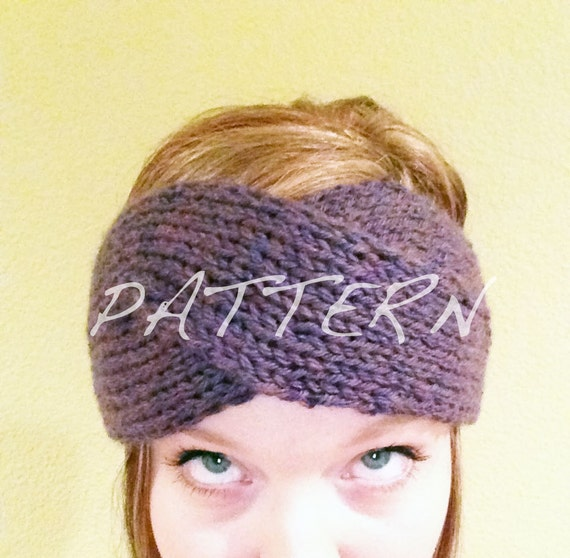 Knitting Pattern Headband Ear Warmer : PATTERN ONLY: Tordu Bandeau Knitted Ear Warmer Headband