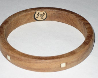 Vintage 70s inlaid wood hippie bracelet from india