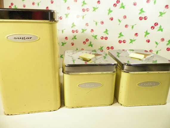 yellow kitchen canisters masterware coffee tea sugar set of 3 vintage